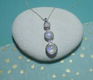 Sterling Silver Cascading Triple Rainbow Moonstone Pendant Necklace June Cancer