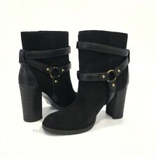 UGG DANDRIDGE HEELS HARNESS BOOTS BLACK SUEDE LEATHER -US SIZE 7.5 -NEW