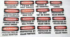 """New listing 50 Assorted Designs """"Warning"""" Decals Stickers Reptiles Fish Pets Turtles Snakes"""