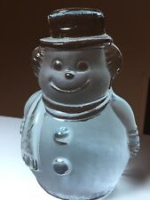 """VINTAGE VIKING ART GLASS HANDCRAFTED CLEAR ICE Frost 5.5"""" SNOWMAN"""