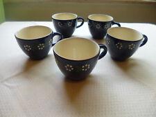 Bunzlauer Keramik 5 Kaffeetassen Dekor blau Margarite innen weiß guter Zustand