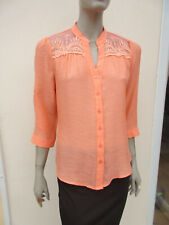 Mine - Womens Apricot 3/4 Sleeve Lacy Trim Top Blouse - size L (14/16)