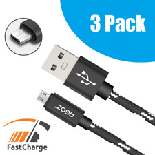 3 Pack Braided Heavy Duty Micro USB FAST Charger Data Sync Cable Cord for Tablet
