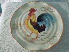 "Vintage ""COUNTRY ROOSTER""  Dinner WAVY Edge PLATE French Wording & Toile CERAMIC"