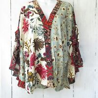 New Umgee Top XL X Large Green Mixed Floral Scallop Sleeve Boho Peasant