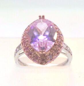 Beautiful Pink Quartz & 14k Rose & White Gold Cocktail Ring