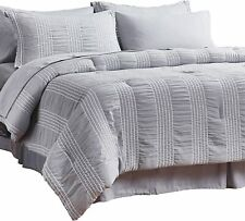 Bedsure Full/Queen Comforter Set 8 Piece Bed in A Bag Stripes Seersucker Ultra-S