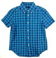 Polo Ralph Lauren Boys Shirt Blue Plaid Pony Logo ButtonDown Short Sleeve Size 5
