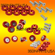 24PC Fender Bumper bolt hood washer 10mm hex chrome  Red