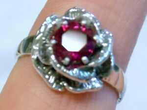 Red Ruby 925 Sterling Silver Flower Ring USA Made Size 7.5