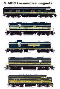 Maine Central Green Locomotives set of 5 magnets Andy Fletcher
