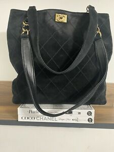 AUTHENTIC CHANEL VINTAGE WILD STITCH SUEDE CAVIAR TOTE IN BLACK