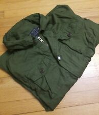 Bleecker & Mercer Mens Vintage Army Green Jacket M Medium Zipper Pockets Hood