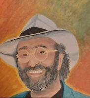 Lucio Dalla dipinto a mano su pannello di legno formato 40x40