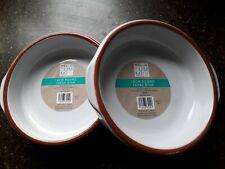 Glazed White Terracotta Round Oven Safe Serving Tapas Dish with handles 2 x 18cm