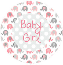 Pink Elephant 19cm round personalised baby shower Girl cake topper edible image