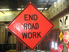 """End Road Work Sign Fluorescent Vinyl With Ribs 48""""x48"""" Roll Up Sign"""