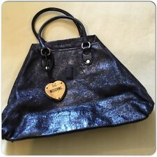 Vintage Rare Moschino Shopper Bag Patent Wrinkled Leather and Gold Heart Logo