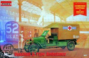 Roden 717 - 1/72 - Vauxhall D-type Red cross Ambulance Car plastic model kit