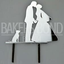Bride Groom & Dog Silver Acrylic Wedding Day Cake Topper Silhouette