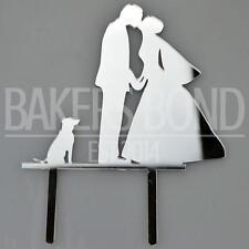 Bride Groom & Dog Silver Acrylic Wedding Day Cake Topper Silhouette