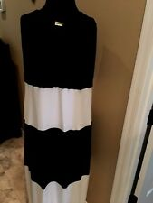 Chico's  Ladies Maxi dress / sz 3 blk and  antique white blocked
