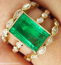 GIA 4.75CT VINTAGE COLOMBIAN GREEN EMERALD DIAMOND ENGAGEMENT WEDDING RING 18KYG