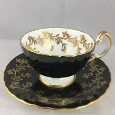Aynsley Black Carnation Scalloped Scroll Teacup Cup & Saucer Gold Floral 2312