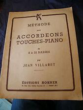 Partition Méthode pour Accordéons Touches Piano Jean Villaret