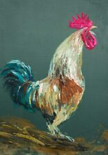 Rooster - Original Oil painting 12x10inch (mounted) NEW!
