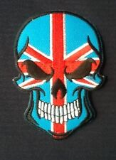 SKULL UNION JACK BRITISH BIKER FLAG MOD PUNK SKINHEAD BADGE IRON SEW ON PATCH