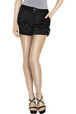 DIANE VON FURSTENBERG BLACK SILK SATIN SHORTS US 6 UK 10