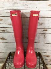 Woman's Hunter Boots Size 10 Cerise Pink Rubber Rain Tall Boots Original Gloss