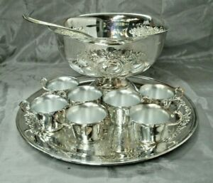Oneida Silver Plate CASTLE COURT 10 pc 5 qt Punch Bowl Set Tray Ladle 7 Cups EC