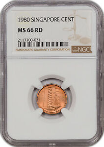 1980 SINGAPORE CENT NGC MS 66 RD ONLY 1 GRADED HIGHER WORLDWIDE