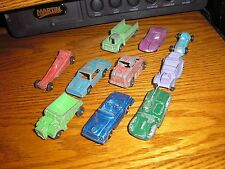 Lot A of 10 Vintage Tootsie Toy Cars Dump Trucks Dragster Hot Rod Semi Tractor