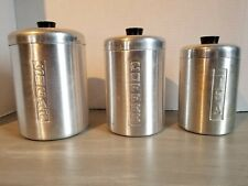 Aluminum Canister Set Sugar Coffee Tea Made In Italy