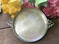 Vintage Ornate Handled Silverplate Footed Serving/Dresser Tray #9207 by Crescent