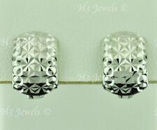 18k solid white gold huggie hoop earring earrings diamond cut 3.20 grams #7041