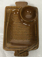 VTG Calif USA S7 Blue Cheese Chip Dip Recipe Ceramic Dish Brown Pottery
