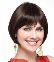 OUJF10504 health bob style women Wig  short straight dark brown health hair wigs