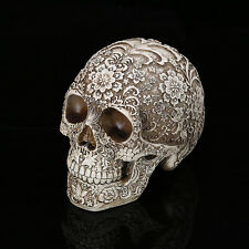 Carved Skull Human Head Creative Bar Cafe Decor Ornament Statue Resin Model Gift