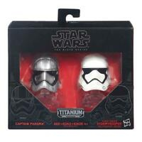 STAR WARS CAPTAIN PHASMA & STORMTROOPER TITANIUM SERIES DIE CAST HELMET SET