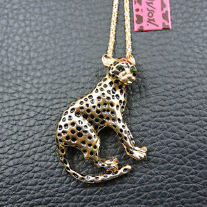 Gold Enamel Crystal Cute Cheetah Betsey Johnson Pendant Chain Necklace/Brooch