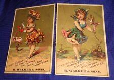 SE521 Vtg R. Walker & Sons Dry Goods Toronto ON Color Business Card x2