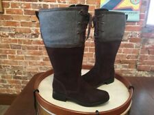 Clarks Brown Suede & Wool Merrian Noble Wide Calf Riding Boot NEW