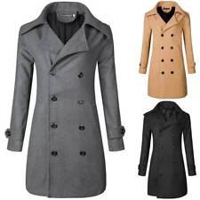 Mens Retro Double Breasted Trench Coat Pea Jacket Overcoat Casual Winter Jacket