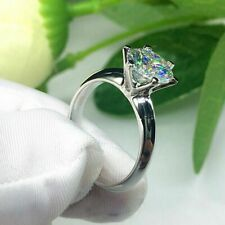 1.50 TCW Round Cut Moissanite 14k White Gold Solitaire Engagement Ring