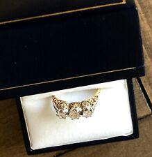 Stylish Vintage Genuine Diamond and Platinum 3 stone Ring 18K Gold