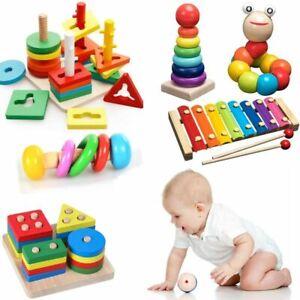 Kids Montessori Wooden Toys Rainbow Blocks Learning Rattles Educational Toy Gift